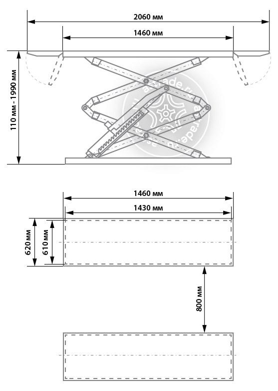 Установочные размеры Launch TLT-632AF
